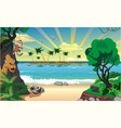landscape island with palm trees in the ocean vector image