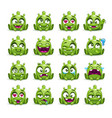 little cute funny green alien set vector image vector image
