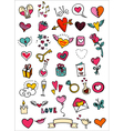 love and hearts doodles vector image