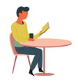 man reading at cafe table book and cup isolated vector image vector image