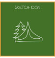 of camping symbol on tent vector image vector image