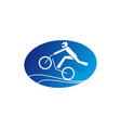 person cycling on mountain bike extreme sport vector image