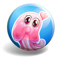 pink creature on round badge vector image vector image