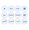 play button or flat blue web icon set isolated vector image vector image