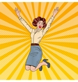Pop Art Successful Jumping Business Woman vector image vector image