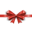 Red ribbon with bow isolated on white background vector image