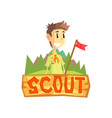 scout banner template scouting boy with flag vector image vector image