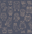 seamless pattern line owls stylized vector image vector image