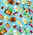 Seamless pattern with beer symbols on blue vector image vector image