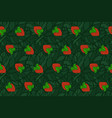 seamless pattern with red strawberry on the leaves vector image