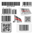 Set of bar codes and qr codes with labels vector image vector image