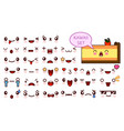 set of cute kawaii emoticon face and sweet piece vector image