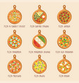 set of italian pizza on wooden boards vector image vector image