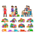 set of people giving present boxes and gifts vector image vector image