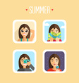 Set of Summer Holidays Flat Design Sunbathe Map vector image