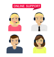 Set of women men telemarketer call center operator vector image