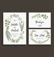 set wedding cards with leaves herbs and flowers vector image vector image