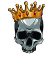 skull in crown with beard isolated vector image vector image