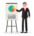 smiling man in black suit shows at chart on poster vector image vector image