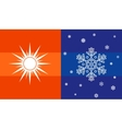 Sun and snowflake climate symbol vector image vector image