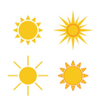 Sun icons set Collection light yellow signs vector image vector image