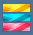 three banners set designed with geometrical vector image vector image