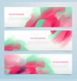 three watercolor abstract banners set vector image vector image