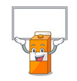 up board package juice character cartoon vector image vector image