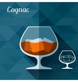 with glass of cognac in flat design style vector image vector image