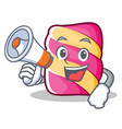 with megaphone marshmallow character cartoon style vector image vector image