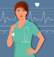 Young female nurse or doctor in scrubs vector image vector image