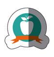 emblem long apple fruit icon vector image