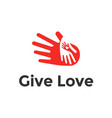 logo design heart in hands abstract icon vector image