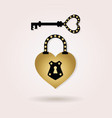black and golden abstract heart shape padlock vector image