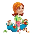 Woman buyer with vegetables and mushrooms vector image