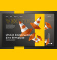 3d road cones on bright site template vector image