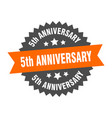 5th anniversary sign 5th anniversary orange-black vector image vector image