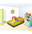 A girl studying in her clean bedroom vector image vector image