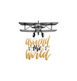 around the world hand lettering poster vector image