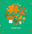 autumn foliage composition in circle shape vector image vector image