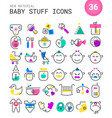 Baby stuff linear icons collection