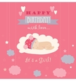 Baby theme It s a girl card vector image vector image