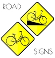 Bicycle yellow road signs vector image vector image