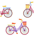 bike with basket embroidery seamless pattern vector image