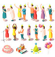 birthday party isometric icons set vector image vector image