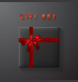 black gift box with red bow and ribbon top view vector image vector image