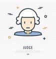 cartoon judge in wig thin line icon vector image