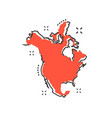 cartoon north america map icon in comic style vector image vector image