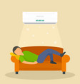 conditioning man at sofa background flat style vector image vector image