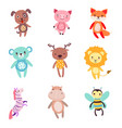cute colorful soft plush animal toys set of vector image vector image